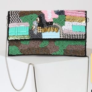 Lulus Rosalynn Green Multi Beaded Clutch